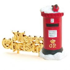 Resin Post Box with Merry Chirstmas Cake Topper